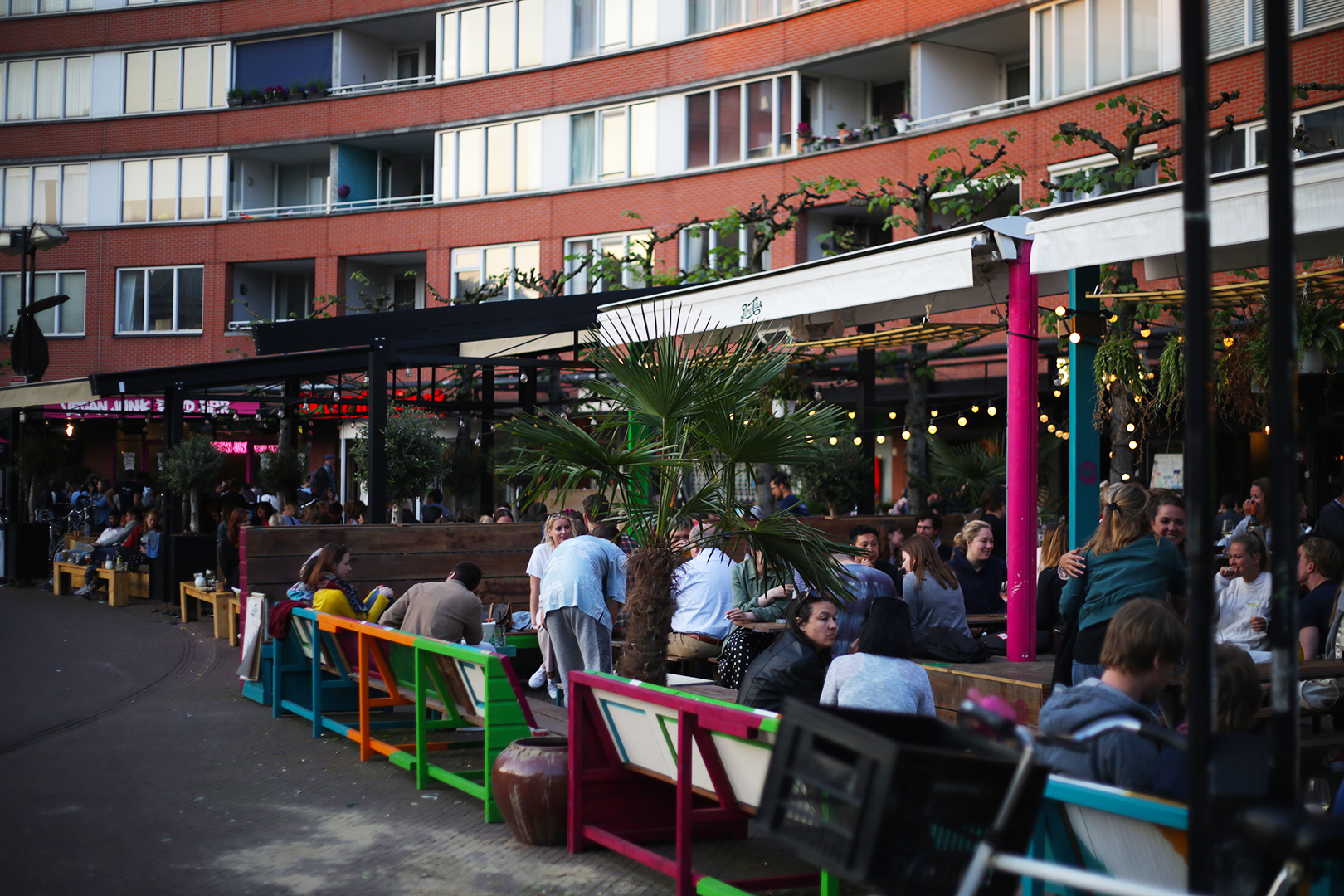 Outdoor seating at Marie Heinekenplein, Amsterdam, the Netherlands
